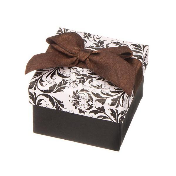 wei schwarze geschenkverpackung mit ornamenten und brauner schleife schmuck eshop at. Black Bedroom Furniture Sets. Home Design Ideas