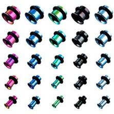 Piercing - anodisierter Titantunnel, verschiedene Farben mit Gummiband