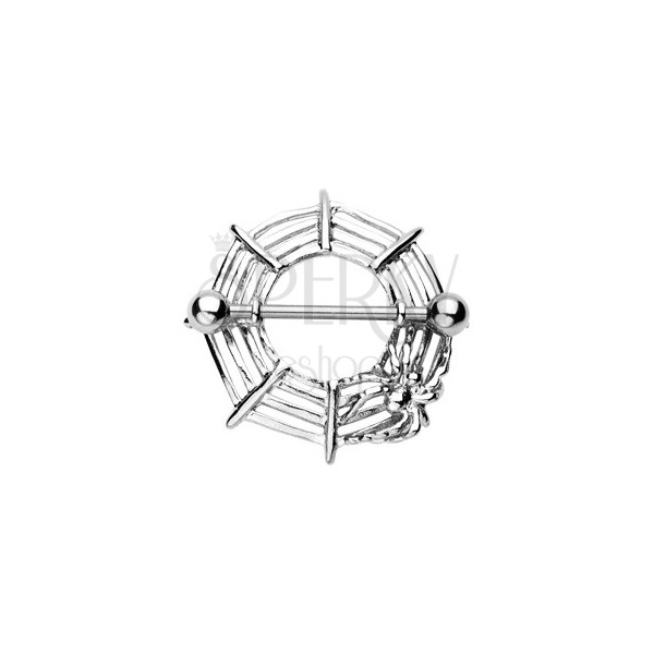 Spinnennetz Brustwarzenpiercing mit Spinne - 2 Stücke