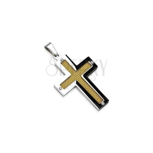 Kreuzanhänger aus Edelstahl mit goldenem Netz und Nieten