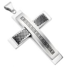 Schmuckanhänger Kreuz - Schachbrettmuster, griechisches Motiv