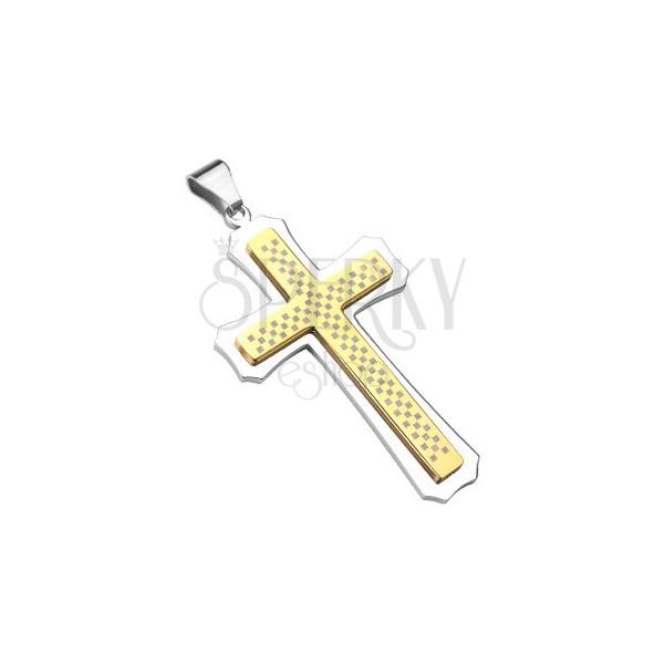 Massiver Kreuzanhänger aus Stahl in Silber & Gold, Schachbrett