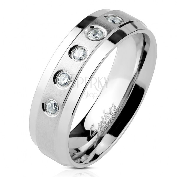 Ring aus Chirurgenstahl 5 klare Zirkonia auf stumpfem Streifen mit glänzenden Rändern