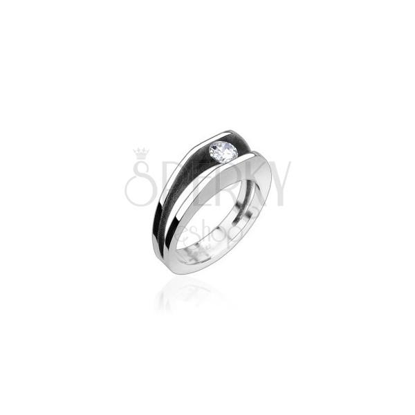 Ring für Damen aus Edelstahl besetzt mit Zirkonia, 5 mm