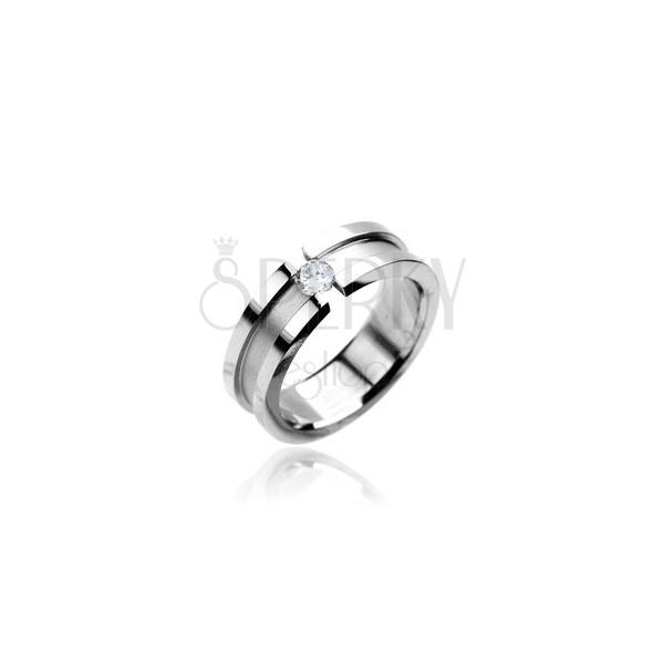Matter Ring aus Chirurgenstahl mit Zirkonia, polierte Kanten