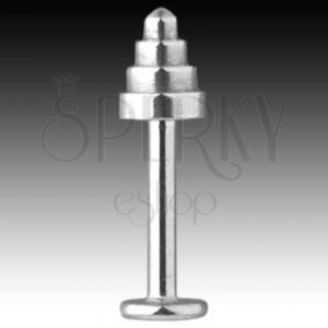 316L Stahl Labret-Piercing - Kegel mit abgerundeter Spitze, Breite 1,6 mm
