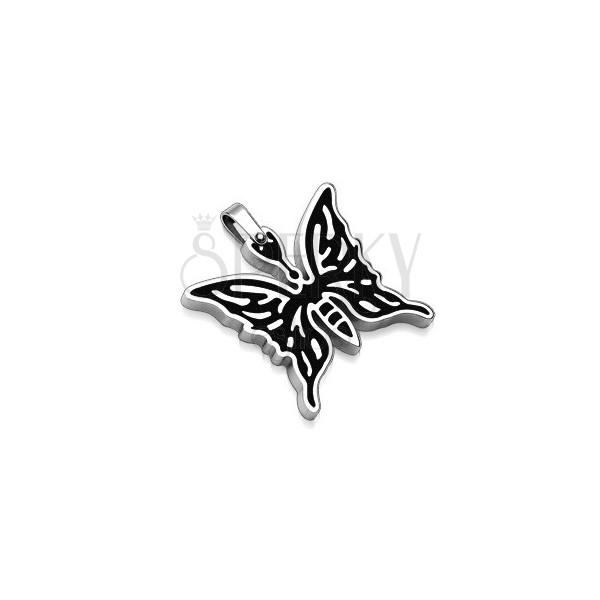 Edelstahlanhänger Schmetterling mit schwarzem Muster
