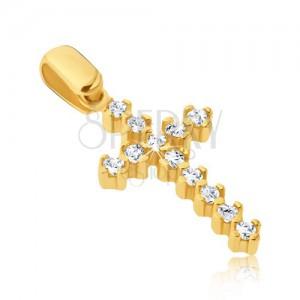 Goldener Anhänger - verlängertes lateinisches Kreuz mit Zirkonen und Krappen