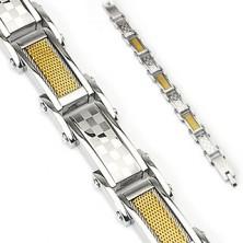 Gliederarmband aus Chirurgenstahl, Flecht- und Schachbrettmuster