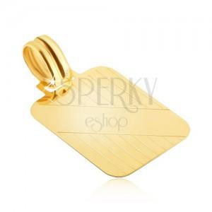 Goldener Anhänger - Platte mit senkrechten Schnitten und glatten schiefen  Streifen