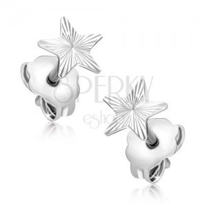 Ohrringe aus Gold - weißer Stern mit gravierten Strahlen