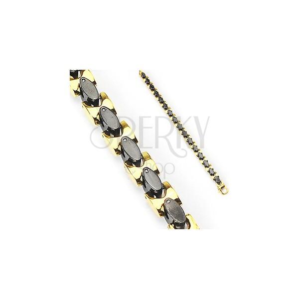 Edelstahlarmband - schwarze und goldfarbene Glieder