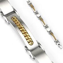 Armband aus Chirurgenstahl mit goldener Kette