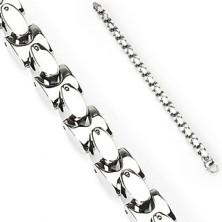 Gliederarmband aus Stahl - volle silberne Ovale