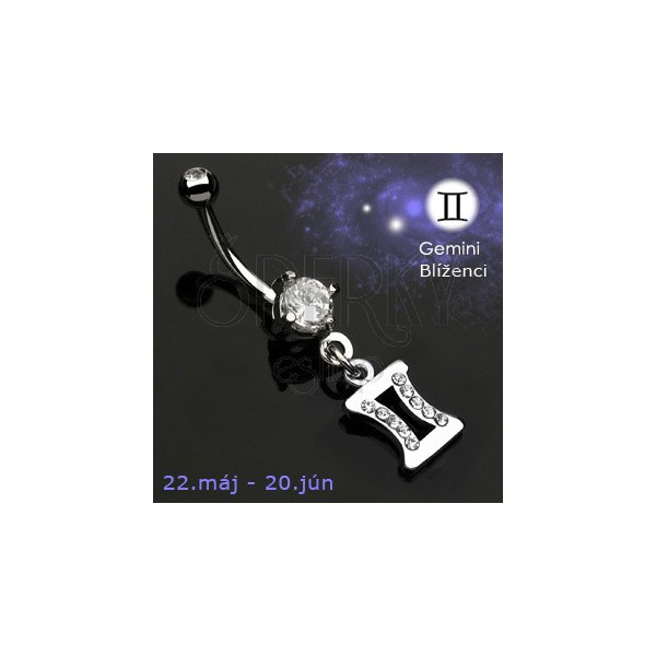 Zodiac belly button ring - Gemini