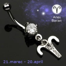 Zodiac belly button ring - Widder