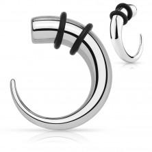Ohr Expander aus Chirurgenstahl - Haken in silberner Farbe mit Gummibändern in schwarzer Farbe