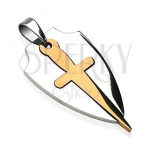 Anhänger aus Chirurgenstahl in zwei Farben - Schwert und Schild