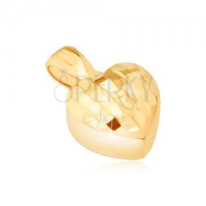 Goldanhänger - dreidimensionales symetrisches Herz, winzige glänzende Flächen