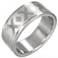 Ring aus Stahl mit X-Muster