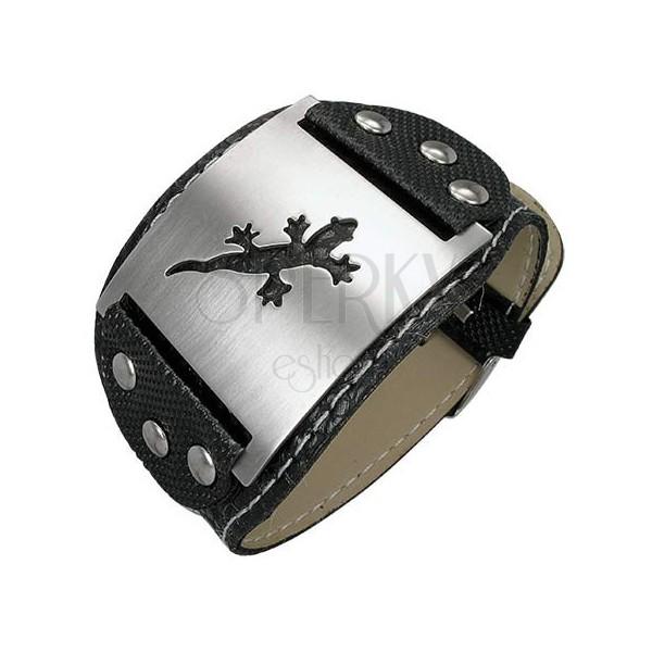Armband aus Lederimitat - Nieten, Eidechse