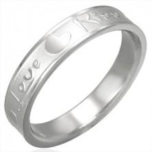 Stahlring in silberner Farbe, matte Mitte und glänzende Ränder, Love & Kiss