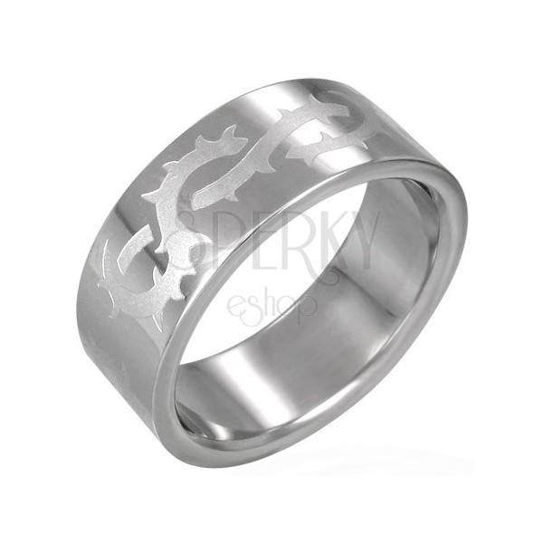 Ring aus Chirurgenstahl mit Stacheldrahtmuster