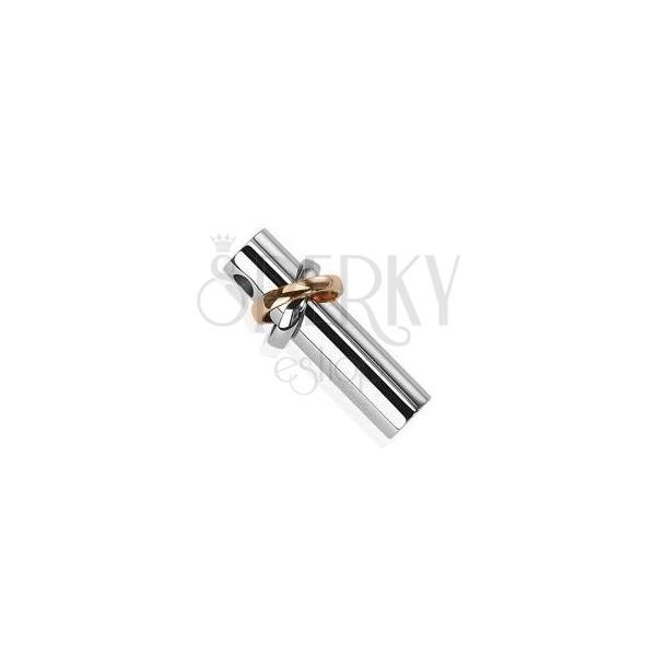 Anhänger aus Edelstahl - Walze mit je einem silber- und kupferfarbenem Ring