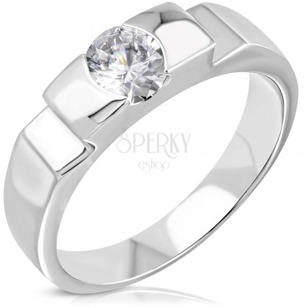 Verlobungsring mit hervorstehendem Ringkopf, dekorative Ringschiene