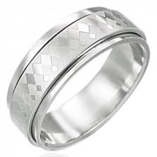 Drehbarer Ring aus Edelstahl mit kleinen und großen Rauten