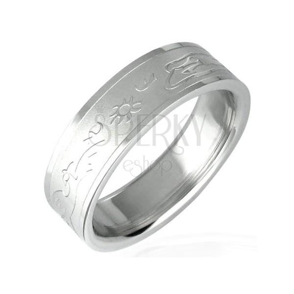 Ring aus Chirurgenstahl mit Motiv - Abendsonne