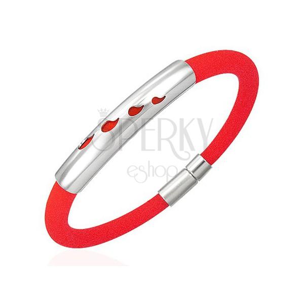 Rundes Armband aus Gummi - vier Tränen, rote Farbe