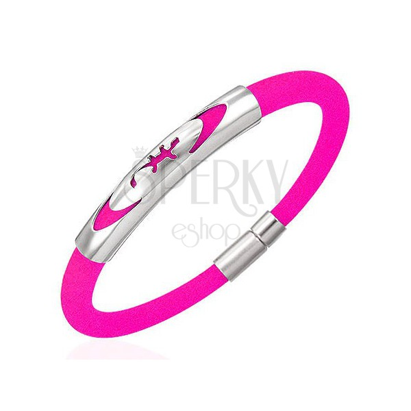 Neon-pink Kautschukarmband, Eidechse im Oval