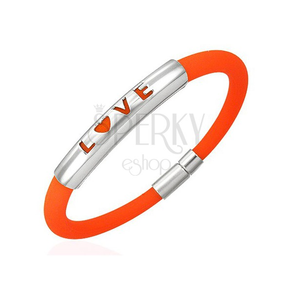 LOVE Silikonarmband in orange Ausführung