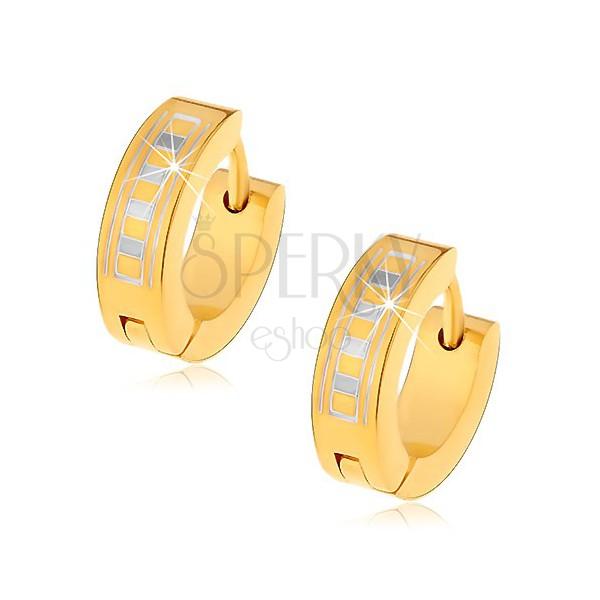 Glänzende Creolen aus 316L Stahl in goldener Farbe mit griechischem Muster