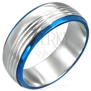 Ring aus Stahl mit zwei blauen Zierstreifen