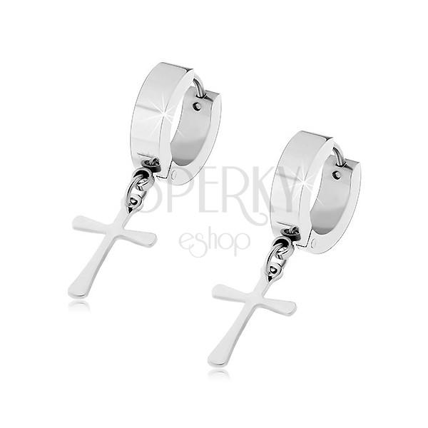 Silberfarbene Ohrringe aus Chirurgenstahl mit hängendem Kreuz, Gelenkverschluss