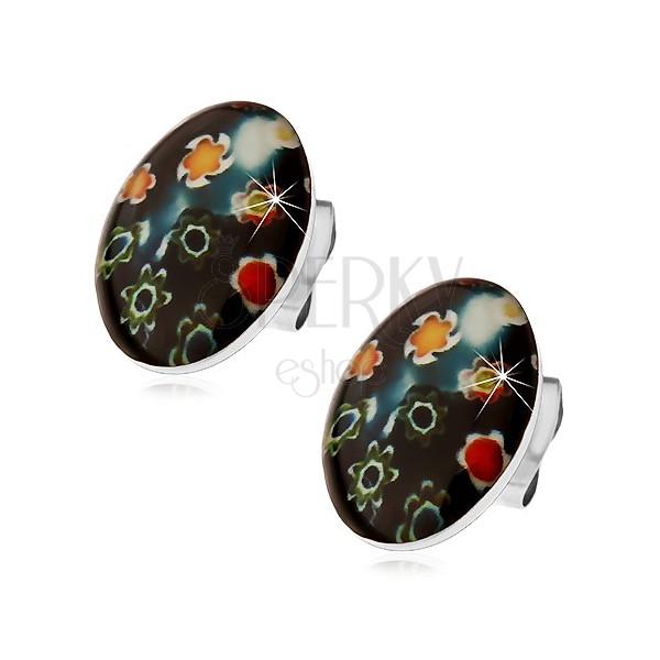 Ohrstecker aus 316L Stahl, schwarzes Oval mit farbigen Blumen