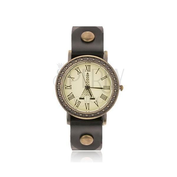 goldene uhr mit schwarzem armband