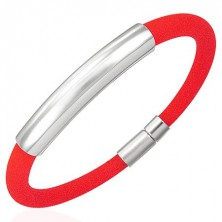 Rundes Silikonarmband mit glattem Mittelteil, rot