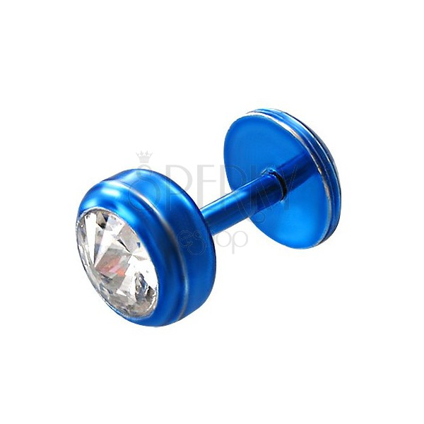 Kinn Piercing aus Stahl in blauer Farbe - runder klarer Zirkon