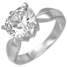 Verlobungsring - großer Zirkonia in Form eines Herzens