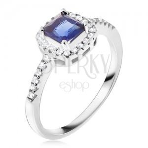 sterling silber ring 925 blauer viereckiger stein zirkonia rand schmuck eshop at. Black Bedroom Furniture Sets. Home Design Ideas