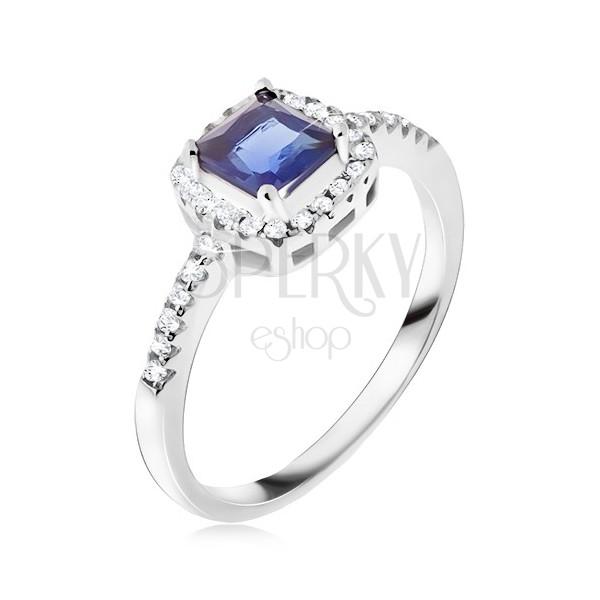 Verlobungsring silber mit blauem stein