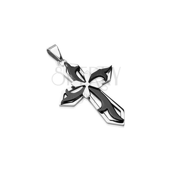 Kettenanhänger aus Edelstahl - Kreuz in schwarzer und silberner Farbe