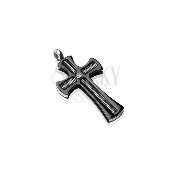 Chirurgenstahlanhänger - schwarzes Kreuz mit klarem Zirkonia und Stab