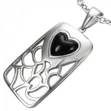 Edelstahlanhänger - schwarzes Herz aus Achat