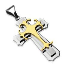 Chirurgenstahlanhänger - dreifaches Kreuz in goldener und silberner Farbe