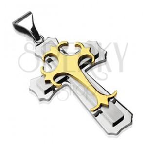 Kettenanhänger aus Stahl - Kreuz in silber-goldener Ausführung
