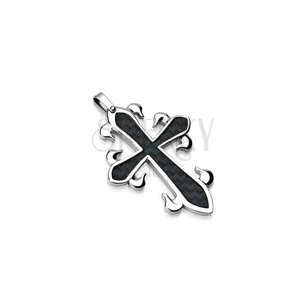Moderner Kreuzanhänger aus Stahl mit schwarzem Flechtmuster